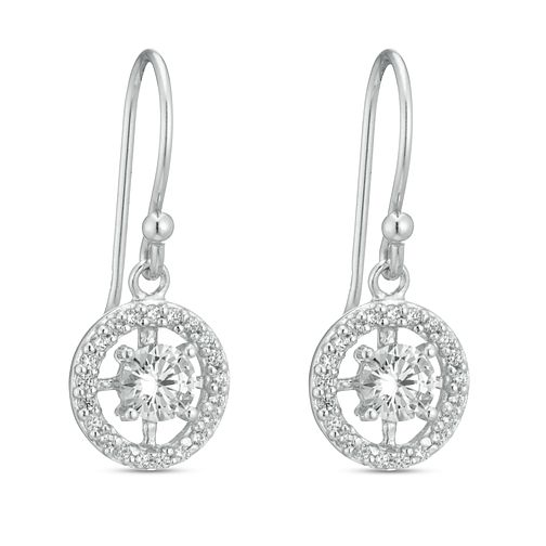 Sterling Silver Cubic Zirconia Round Halo Drop Earrings - Product number 3959759