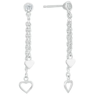 Sterling Silver Cubic Zirconia Double Heart Drop Earrings - Product number 3959783