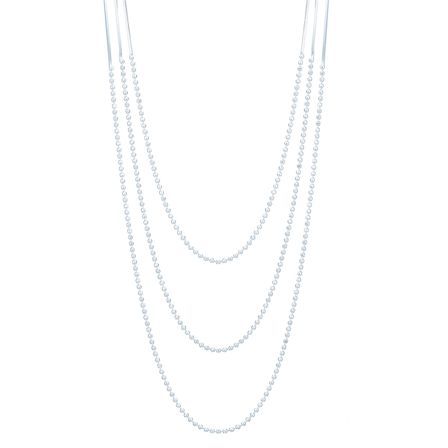 Silver Bead & Flash Chain Three Strand 18 inches Necklace - Product number 3959821