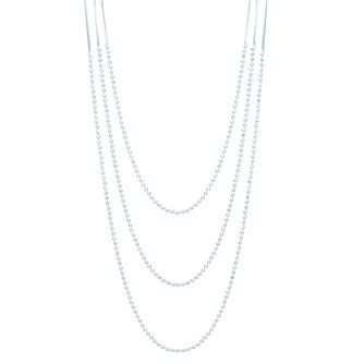 "Sterling Silver 18"" Bead & Flash Chain Three Strand Necklace - Product number 3959821"