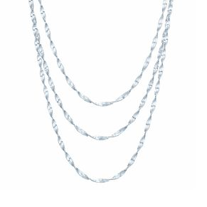 "Sterling Silver 16"" 3 Strand Singapore Necklace - Product number 3959864"