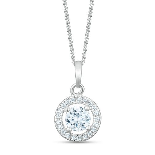 Sterling Silver Cubic Zirconia Round Pendant - Product number 3960188