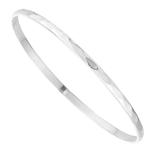 Sterling Silver Hammered Effect Bangle - Product number 3960323