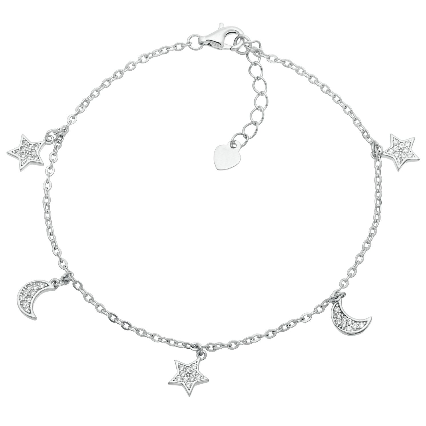 Silver Rhodium Cubic Zirconia Star & Moon Charm Bracelet - Product number 3960374