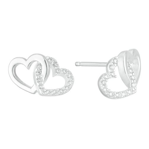 Sterling Silver Cubic Zirconia Double Heart Stud Earrings - Product number 3960757