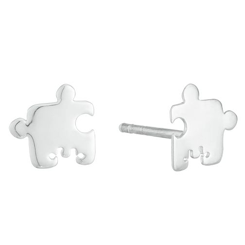 Sterling Silver Puzzle Piece Mismatched Stud Earrings - Product number 3961443
