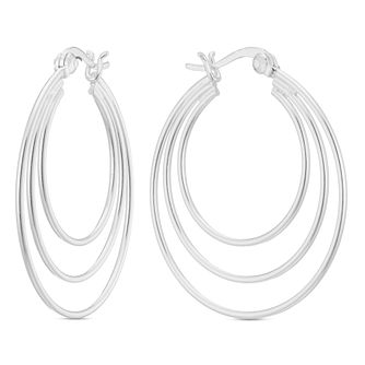 Sterling Silver Three Row Large Creole Earrings - Product number 3961494
