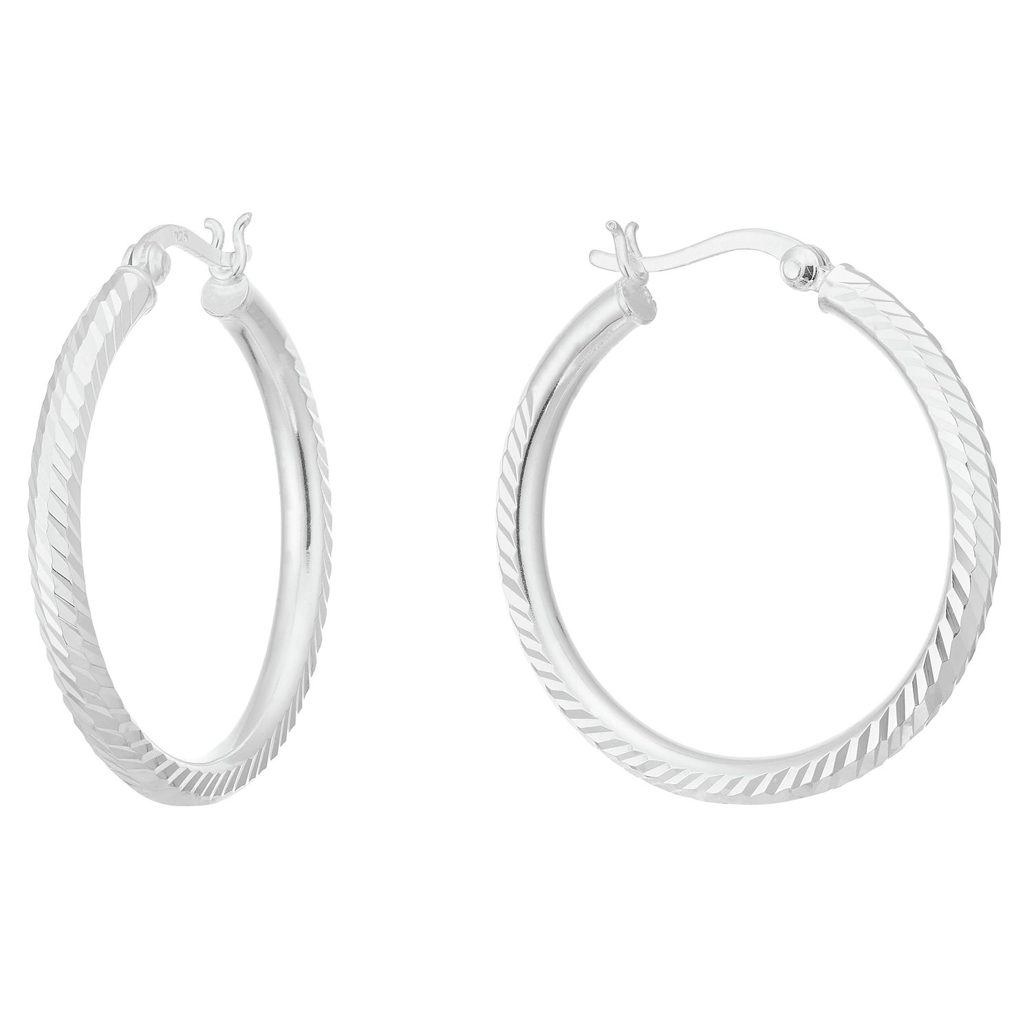 Sterling Silver Diamond Cut 25mm Hoop Earrings - Product number 3961508