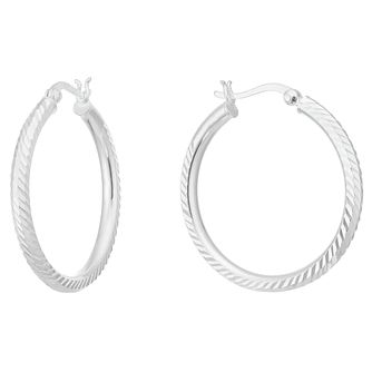 Sterling Silver Diamond Cut Creole Earrings - Product number 3961508