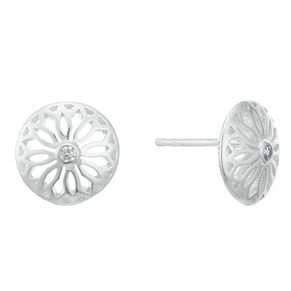 Sterling Silver Cubic Zirconia Round Filigree Stud Earrings - Product number 3961532