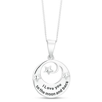 Silver Rhodium 'Love You To The Moon And Back' Pendant - Product number 3961605