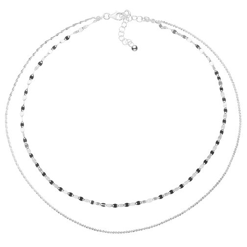 "Sterling Silver 14"" Double Strand Glitz & Fancy Link Choker - Product number 3961761"