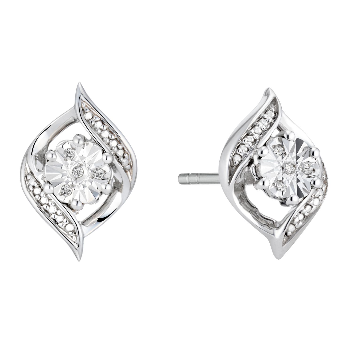 Sterling Silver Diamond Swirl Stud Earrings - Product number 3963926