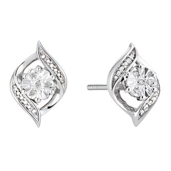 Silver Diamond Swirl Stud Earrings - Product number 3963926