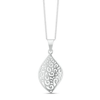 Sterling Silver Filigree Leaf Design Pendant - Product number 3964477