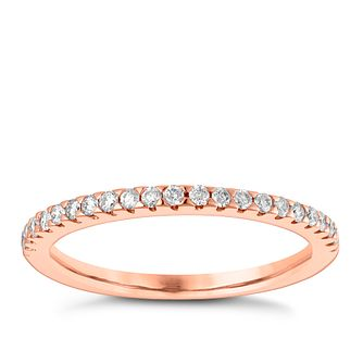 9ct Rose Gold 1/5ct Diamond Claw Set Wedding Ring - Product number 3964965