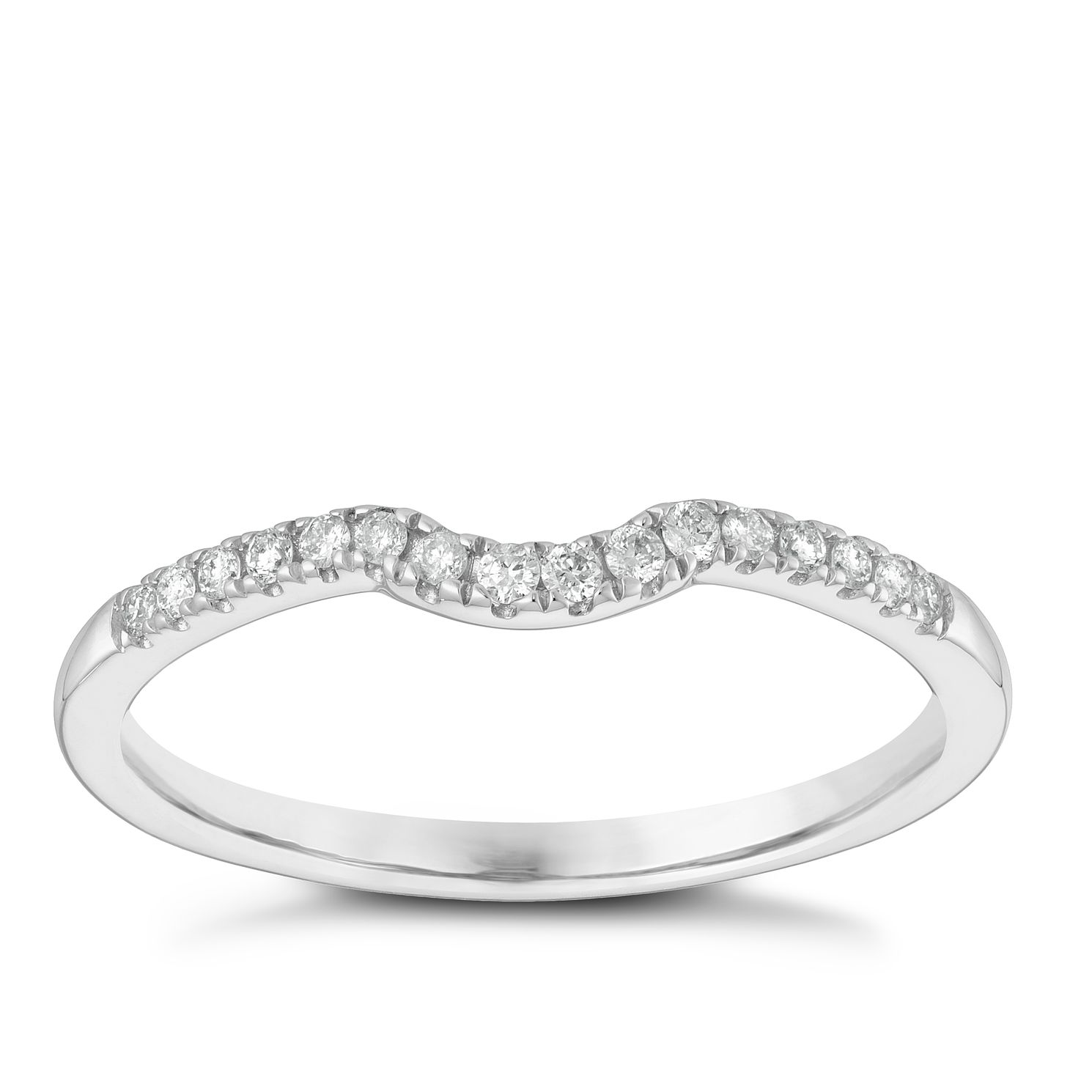 9ct White Gold 0.10ct Diamond Shaped Band - Product number 3965546