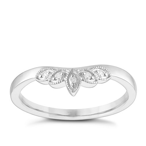 9ct White Gold Diamond Set Leaf Milgrain Shaped Wedding Ring - Product number 3965686