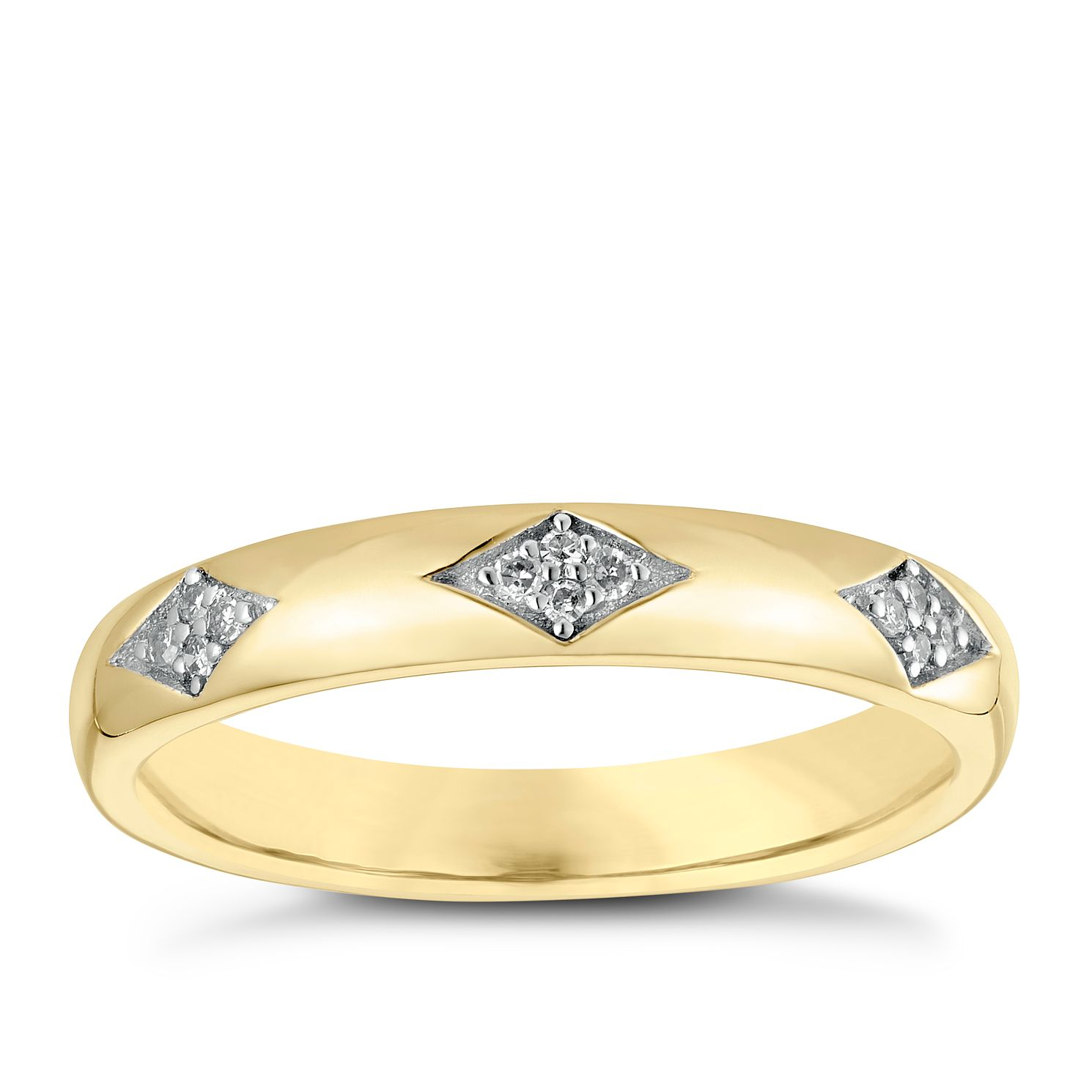 9ct Yellow Gold Three Diamond Band - Product number 3965821