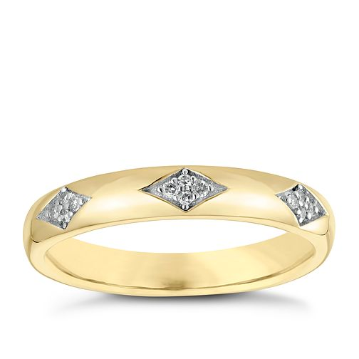 9ct Yellow Gold Three Diamond Design Wedding Ring - Product number 3965821