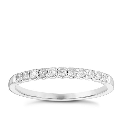 9ct White Gold 1/5ct Diamond Claw Set Wedding Ring - Product number 3966097