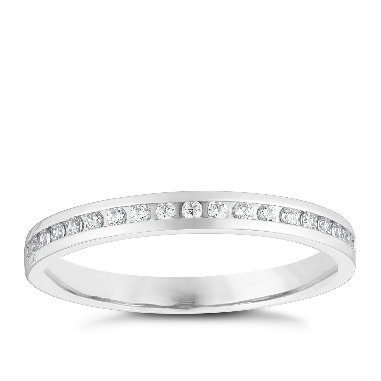 9ct White Gold 0.10ct Diamond Band - Product number 3966224