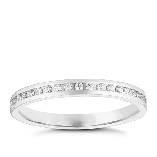 9ct White Gold 1/10ct Diamond Set Wedding Ring - Product number 3966224