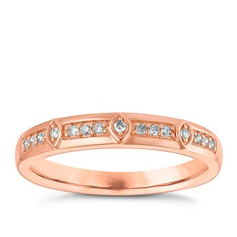 9ct Rose Gold Diamond Set Straight Wedding Ring - Product number 3967360