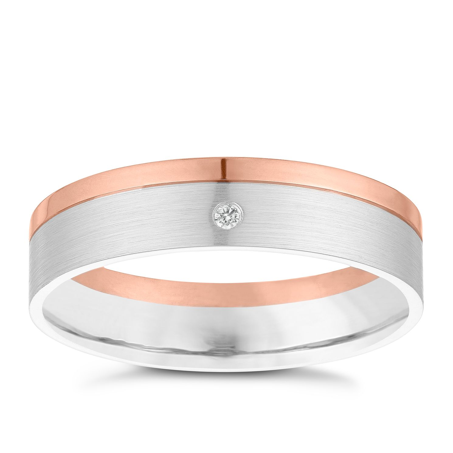 9ct White & Rose Gold Diamond Wedding Ring - Product number 3967751