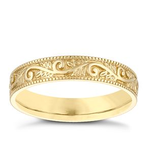 9ct Yellow Gold 4mm Patterned Design Wedding Ring - Product number 3968308