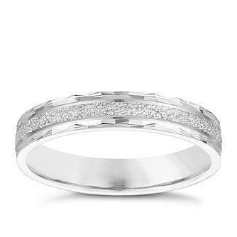 9ct White Gold 3 5mm Patterned & Sparkle Design Wedding Ring