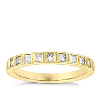 18ct Yellow Gold 1/3ct Diamond Princess Cut Wedding Ring - Product number 3972496