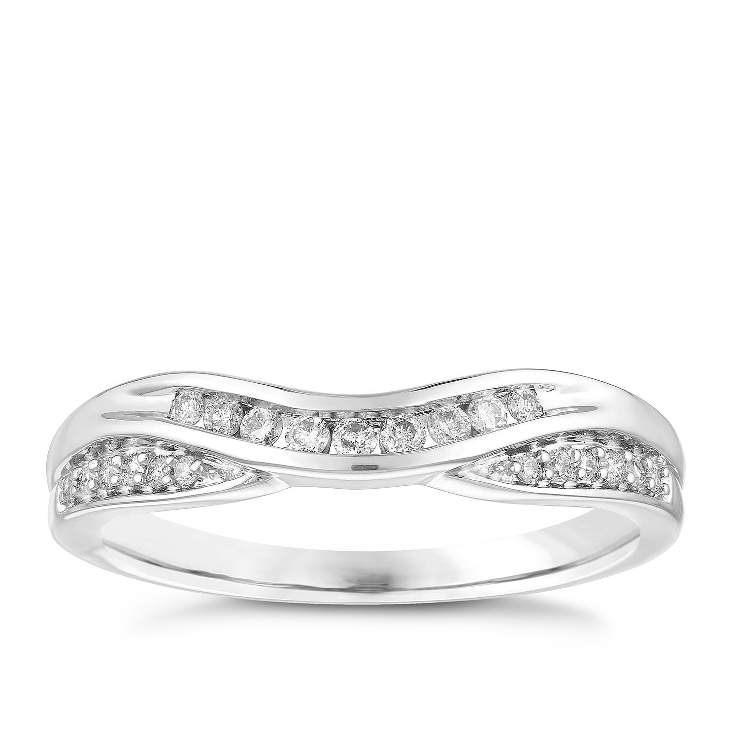 18ct White Gold 0.15ct Diamond Set Shaped Wedding Ring - Product number 3972895