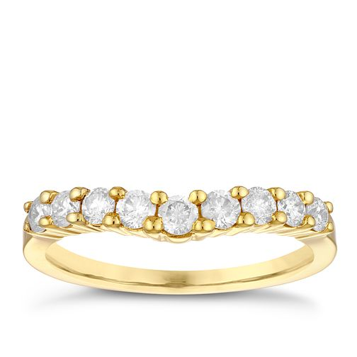 18ct Yellow Gold 1/2ct Diamond Set Shaped Wedding Ring - Product number 3973034