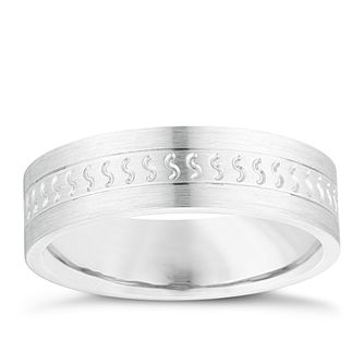 Silver & Palladium 500 Patterned Wedding Ring - Product number 3973565