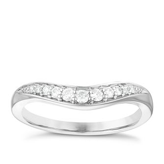 Platinum 0.16ct Diamond Set Shaped Wedding Ring - Product number 3975347