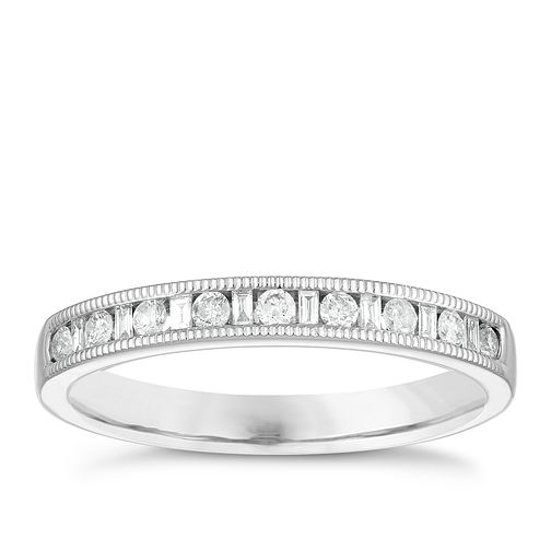Platinum 1/5ct Diamond Set Milgrain Design Wedding Ring - Product number 3975630