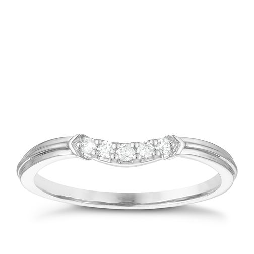 Palladium 950 Diamond Set Shaped Wedding Ring - Product number 3977498