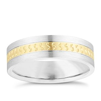 Silver & 9ct Yellow Gold Patterned Wedding Ring - Product number 3977625