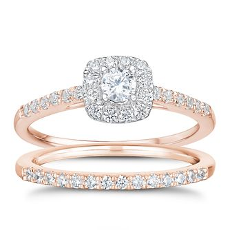 Tolkowsky 18ct  Rose Gold 1/2ct I-I1 Diamond Bridal Set - Product number 3978192