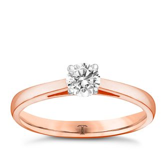Tolkowsky 18ct rose gold 1/3ct I-I1 diamond ring - Product number 3979857
