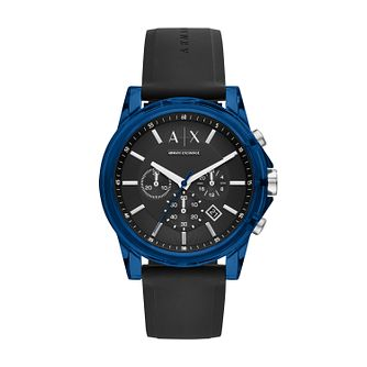 Armani Exchange Chronograph Men's Black Silicone Strap Watch - Product number 3981126