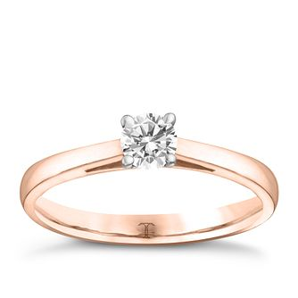 Tolkowsky 18ct rose gold 1/4ct HI-SI2 diamond ring - Product number 3981282
