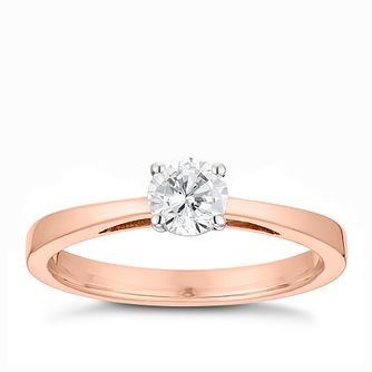 Tolkowsky 18ct rose gold 2/5ct HI-SI2 diamond ring - Product number 3982637