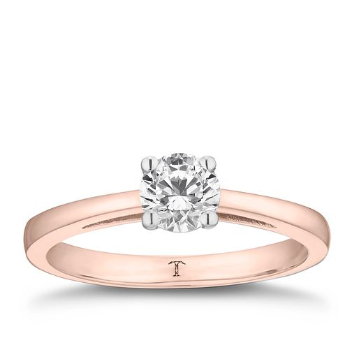 Tolkowsky 18ct rose gold 2/3ct HI-SI2 diamond ring - Product number 3983234