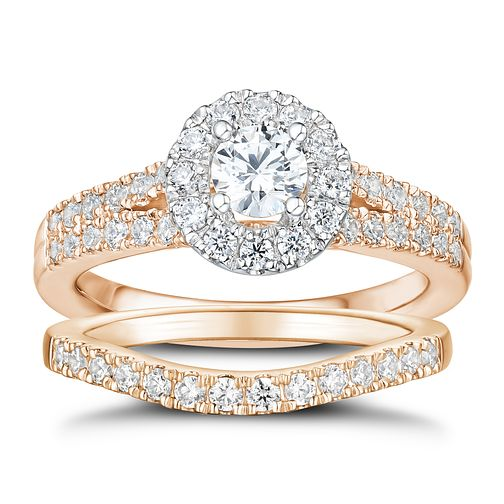 Tolkowsky 18ct Rose Gold 1ct Round Cut Diamond Bridal Set - Product number 3983374