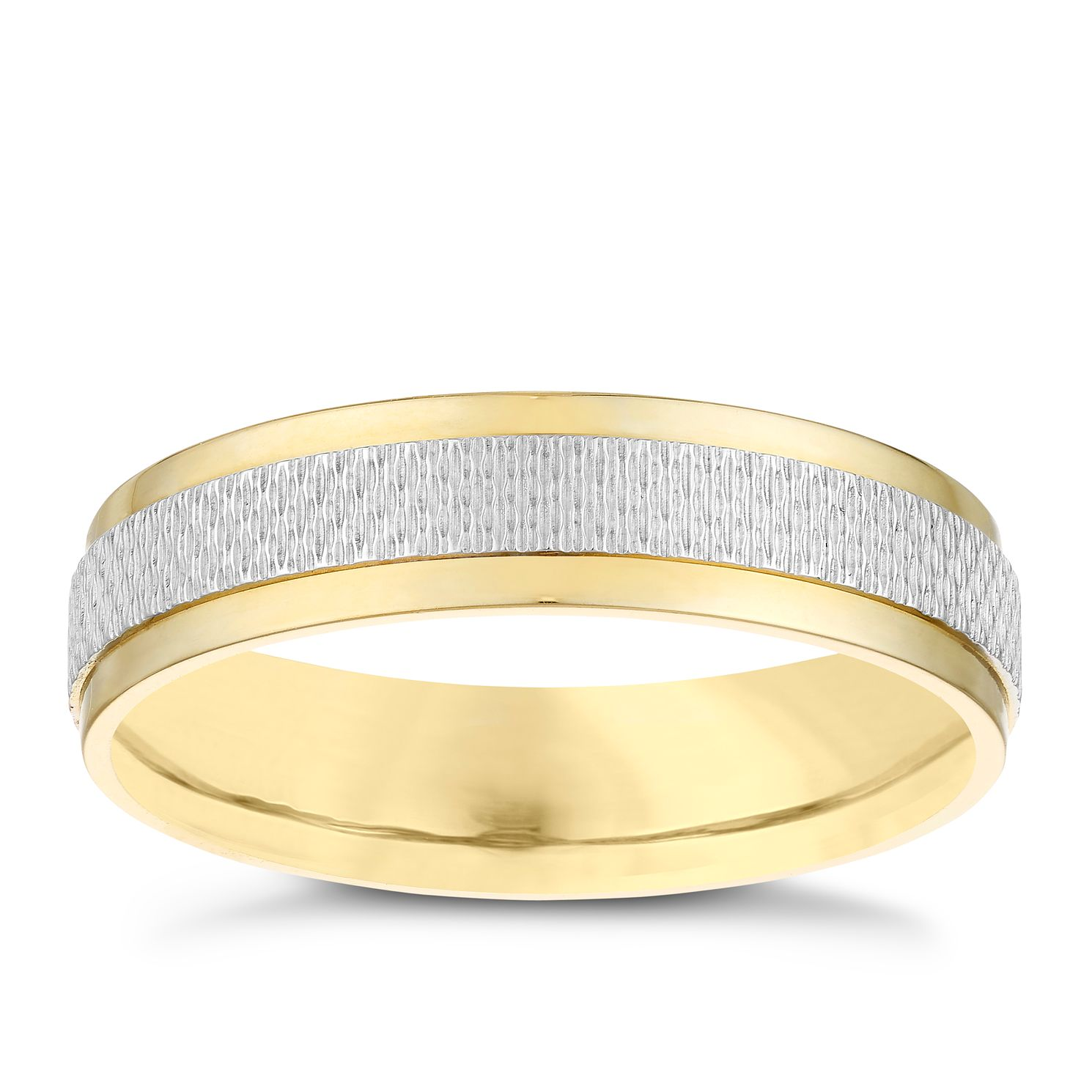 9ct White & Yellow Gold 5mm Patterned Wedding Band - Product number 3984915