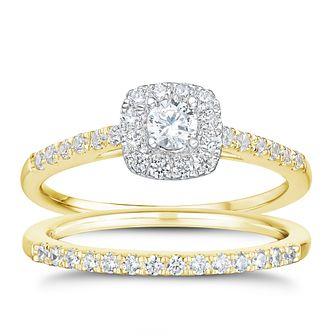 Tolkowsky 18ct Gold 1/2ct I-I1 Diamond Bridal Set - Product number 3985644
