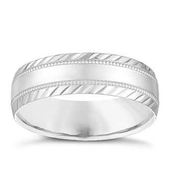 9ct White Gold 6mm Milgrain & Patterned Wedding Ring - Product number 3987043