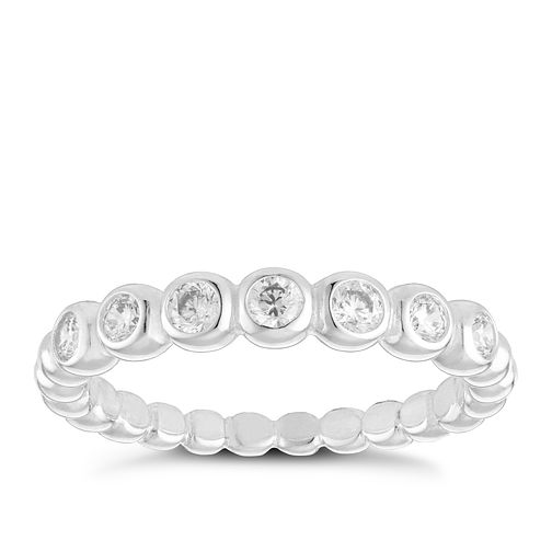 Sterling Silver Beaded Cubic Zirconia Eternity Ring Size N - Product number 3994600